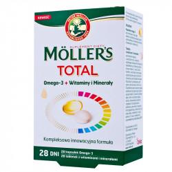 Mollers Total, 28 kapsułek omega 3 + 28 tabletek witamain i minerałów