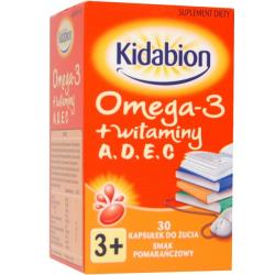 Kidabion Omega-3 + witaminy o smaku pomarańczowym x 30 kapsułek do żucia