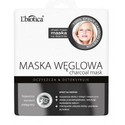 L'biotica Maska Węglowa na tkaninie oczyszcza i detoksykuje 23ml