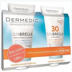 Dermedic Sunbrella zestaw Balsam chłodzący po opalaniu 200g + Mleczko ochronne SPF 30  200g