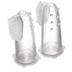 CANPOL pierwsza silikonowa szczoteczka do zębów z wypustkami masującymi w pojemniku56/159