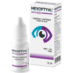 Hexoftyal PHMB  Łagodzące i nawilżające krople do oczu, 15 ml