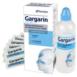 Gargarin ZATOKI Zestaw podstawowy do płukania nosa i zatok (butelka+16 saszetek)