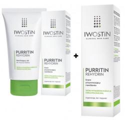 Iwostin Purritin Rehydrin Nawilżający Żel Do Mycia Twarzy 150 ml + Krem Przywracający Nawilżenie 40 ml