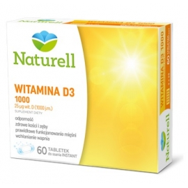 NATURELL Witamina D3 1000 60 tabletek do ssania