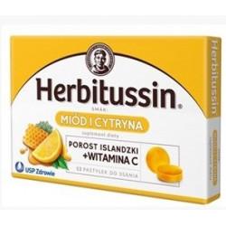 Herbitussin Miód i Cytryna pastylki na gardło x 12 past.