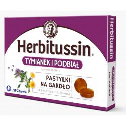 Herbitussin Tymianek i Podbiał pastylki na gardło x 12 past.