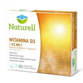 NATURELL Witamina D3+K2 MK-7 60 tabletek do ssania