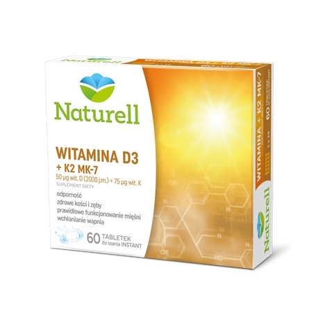 Naturell Witamina D3 + K2 MK-7, 60 tabl. do ssania INSTANT