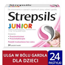 Strepsils Junior smak truskawkowy x 24 pastylki twarde