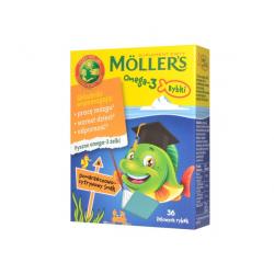 Mollers Omega-3 Rybki Pomarańczowo-cytrynowy smak 36 żelowych rybek