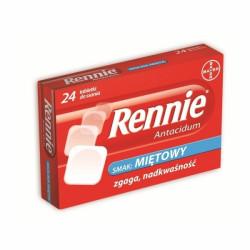 Rennie Antacidum 680mg+80mg, smak miętowy 24 tabletki