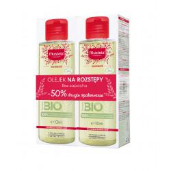Mustala Olejek na rozstępy Duopak 2x105ml + Mustela chusteczki BIO z organicznej bawełny 60 sztuk