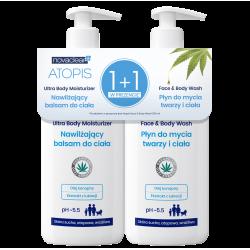 Zestaw Novaclear Atopis Nawilżający balsam do ciała 500ml + Płyn do mycia twarzy i ciała 500ml