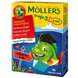 Moller's Omega-3 Rybki żelki smak malinowy 36 sztuk