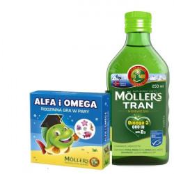 Moller's Zestaw Tran jabłkowy 250ml + Tran jabłkowy 250ml + Gra gratis