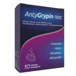 Antygrypin Noc 500mg + 200mg + 4mg 10 tabletek musujących