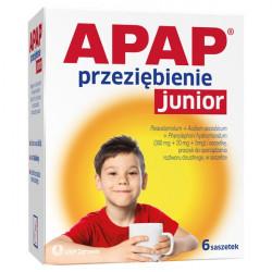 Apap Junior Przeziębienie (300mg + 20mg + 5mg) 6 saszetek