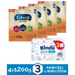Enfamil Premium MFGM 3 Mleko modyfikowane 4x1200g + Chusteczki Kindii Pure odpowiednie od pierwszych dni życia 180 sztuk