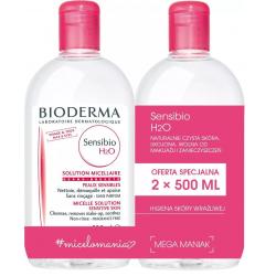 Bioderma Sensibio H2O Płyn micelarny do oczyszczania skóry i demakijaż dla skóry wrażliwej 2x500ml