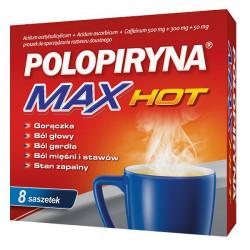Polopiryna Max Hot (500 mg + 300 mg + 50 mg) 8 saszetek, Data ważności: 31.05.2021 r.
