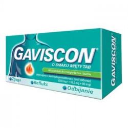 Gaviscon o smaku mięty Tab 250mg + 133,5mg + 80mg 48 tabletek do rozgryzania i żucia