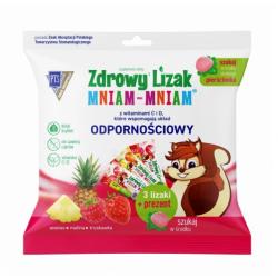 Zdrowy Lizak Mniam-Mniam 3 lizaki (ananas, malina, truskawka) + pierścionek