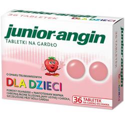 Junior-angin Dla dzieci od 4 lat Smak truskawkowy 36 tabletek